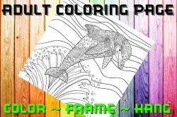 Dolphin Adult Coloring Page Sheet #5 (digital or shipped)