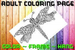 Dragonfly Adult Coloring Page Sheet #2 (digital or shipped)