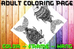 Fish Adult Coloring Page Sheet #10 (digital or shipped)