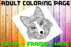 Fox Adult Coloring Page Sheet #2 (digital or shipped)