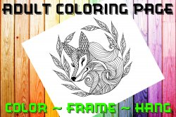 Fox Adult Coloring Page Sheet #3 (digital or shipped)