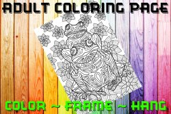Frog Adult Coloring Page Sheet #1 (digital or shipped)