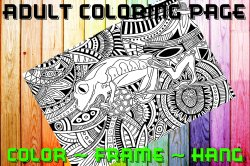 Frog Adult Coloring Page Sheet #2 (digital or shipped)
