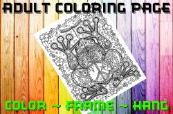 Frog Adult Coloring Page Sheet #3 (digital or shipped)