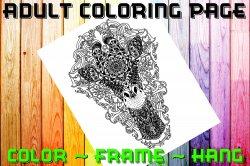Giraffe Adult Coloring Page Sheet #3 (digital or shipped)