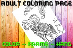 Goat Adult Coloring Page Sheet #1 (digital or shipped)