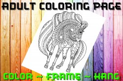 Horse Adult Coloring Page Sheet #3 (digital or shipped)