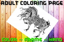 Horse Adult Coloring Page Sheet #4 (digital or shipped)