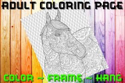 Horse Adult Coloring Page Sheet #6 (digital or shipped)