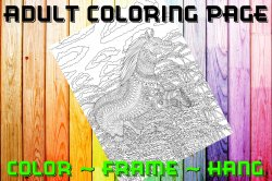 Horse Adult Coloring Page Sheet #9 (digital or shipped)