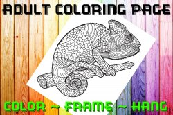 Lizard Adult Coloring Page Sheet #1 (digital or shipped)