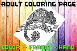 Lizard Adult Coloring Page Sheet #2 (digital or shipped)