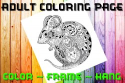 Mouse Adult Coloring Page Sheet #1 (digital or shipped)