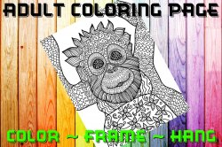 Monkey Adult Coloring Page Sheet #3 (digital or shipped)