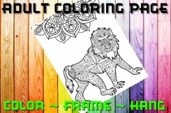 Monkey Adult Coloring Page Sheet #4 (digital or shipped)