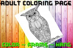 Owl Adult Coloring Page Sheet #2 (digital or shipped)