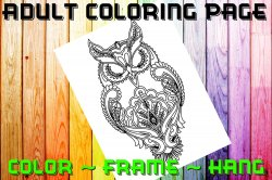 Owl Adult Coloring Page Sheet #5 (digital or shipped)