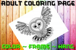 Owl Adult Coloring Page Sheet #11 (digital or shipped)