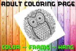 Owl Adult Coloring Page Sheet #12 (digital or shipped)