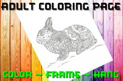 Rabbit Adult Coloring Page Sheet #1 (digital or shipped)