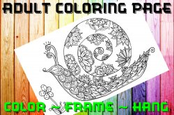 Snail Adult Coloring Page Sheet #1 (digital or shipped)