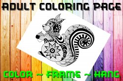Squirrel Adult Coloring Page Sheet #1 (digital or shipped)