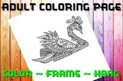 Swan Adult Coloring Page Sheet #1 (digital or shipped)