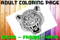 Tiger Adult Coloring Page Sheet #1 (digital or shipped)