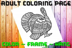 Turkey Adult Coloring Page Sheet #1 (digital or shipped)