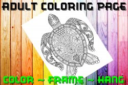 Turtle Adult Coloring Page Sheet #1 (digital or shipped)