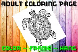 Turtle Adult Coloring Page Sheet #2 (digital or shipped)