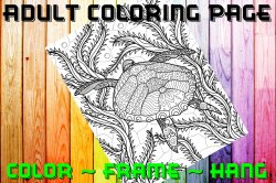 Turtle Adult Coloring Page Sheet #5 (digital or shipped)