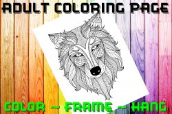 Wolf Adult Coloring Page Sheet #1 (digital or shipped)