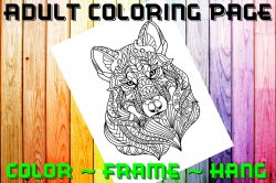 Wolf Adult Coloring Page Sheet #2 (digital or shipped)