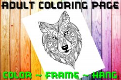 Wolf Adult Coloring Page Sheet #4 (digital or shipped)
