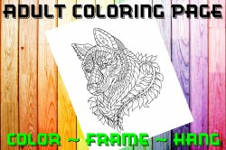 Wolf Adult Coloring Page Sheet #5 (digital or shipped)