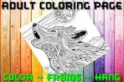 Wolf Adult Coloring Page Sheet #6 (digital or shipped)