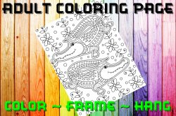 Alligator Adult Coloring Page Sheet #1 (digital or shipped)