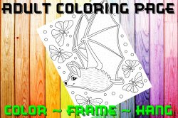 Bat Adult Coloring Page Sheet #1 (instant download or printed)