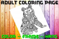 Bear Adult Coloring Page Sheet #5 (instant download or printed)