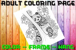 Bear Adult Coloring Page Sheet #6 (instant download or printed)