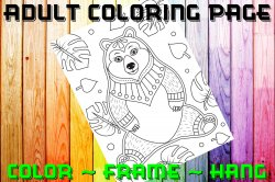 Bear Adult Coloring Page Sheet #7 (instant download or printed)