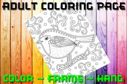 Bird Adult Coloring Page Sheet #8 (digital or shipped)