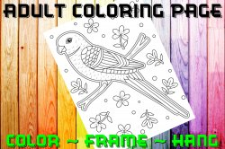 Bird Adult Coloring Page Sheet #9 (digital or shipped)