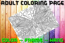 Butterfly Adult Coloring Page Sheet #31 (digital or shipped)