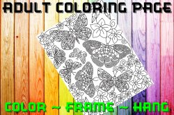 Butterfly Adult Coloring Page Sheet #34 (digital or shipped)