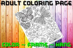 Butterfly Adult Coloring Page Sheet #36 (digital or shipped)