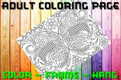 Butterfly Adult Coloring Page Sheet #37 (digital or shipped)