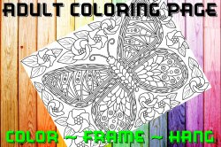Butterfly Adult Coloring Page Sheet #39 (digital or shipped)