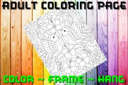Bird Adult Coloring Page Sheet #13 (digital or shipped)